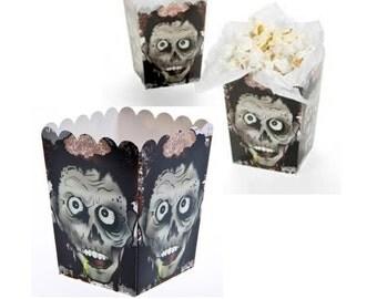 "Popcorn Boxes ZombieTreat Boxes Halloween Favor Boxes Candy Boxes Popcorn Boxes Zombie Hunters Birthday Favors 12 ct. / 4"" x 3"" x 3"""