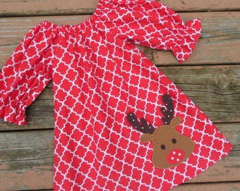 Girl's Toddler Peasant Dress - Red Quatrefoil with Reindeer Applique