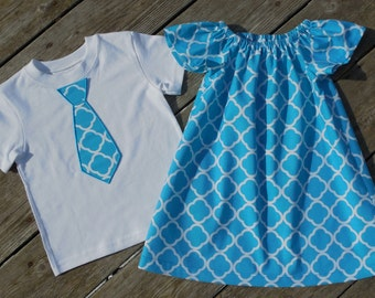 Brother and Sister Matching Outfits - Girl's Aqua Quatrefoil Peasant Dress with Brother Appliqued Tie Shirt