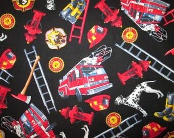 Realistic Firemen Firetrucks Ladder Dog Cotton Fabric Fat Quarter Or Custom Listing Listing