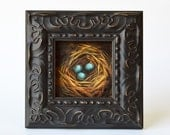 Robin's Egg Blue Nest, rustic nature art, small oil painting