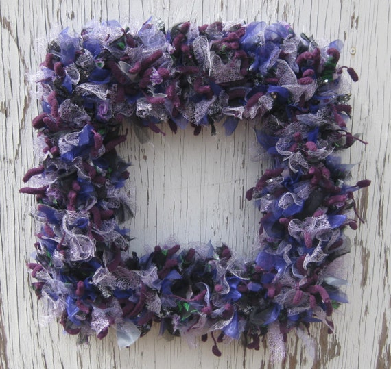 Recycled Fabric and Yarn Square Wreath - 16 inch - Purple Explosion