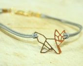 Fine Origami Animal Leather Bracelet goldcolored - special gift nature bird friendship best friend