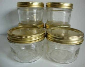 Kerr Mason Jars, Six Canning Jars, Wide Mouth Self Sealing Canning Jars, Canning Jars with Lids, Craft Supply