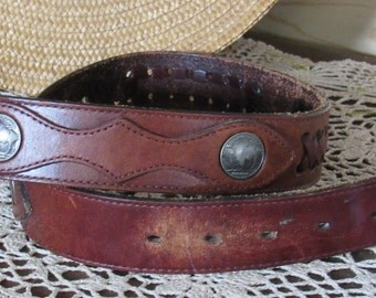 "A Leather Vintage Lyntone Buffalo Nickle Belt, 32""  FREE SHIPPING"