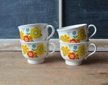 Set Of Four Vintage Retro Teacups, Noritake Teacups, Versatone Crazy Quilt Pattern, ColoredFloral Tea Cups, Floral Teacups, Kitschy Teacups
