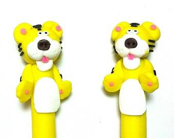 New 2 Handmade Polymer Clay Fimo Pen Cartoon Face Tiger