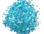 Turquoise SOLVENT RESISTANT HOLOGRAPHIC Glitter 0.062 Hex - 1 Fl. Ounce for Glitter Nail Art, Glitter Nail Polish & Glitter Crafts