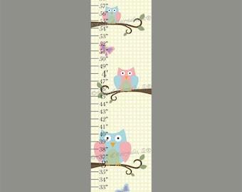 Owl Butterflies Print Canvas Growth Chart