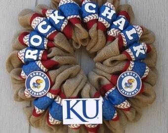 University of Kansas Burlap Rock Chalk Jayhawk KU wreath, wall or door decor