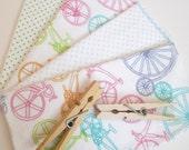 Cloth Napkins--Set of 4--Colorful Bikes & Polkadots Mix--Regular--Ready to Ship