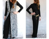 Mod 60s black knit jumpsuit with maxi vest -one piece jumpsuit with black and white damask long vest -small