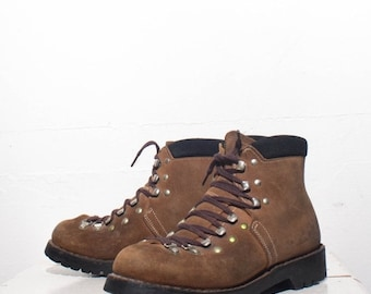 40% Off Sale 6   Swiss Made Hiking Trail Boots Brown Mountaineering Hikers (marked boys 4 E)