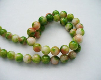 Jade Beads Gemstone Greens and Oranges  Round 8MM