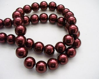 Glass Pearls Wine Red 8MM