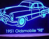 "1951 Olds 98 Special Acrylic Lighted Edge Lit LED Sign 13"" VVD10 Full Size USA Original"