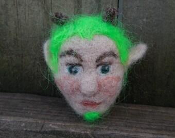 Ready to Ship Needle Felted Green Man Fairy Elf Face Brooch / Wool Felt Doll Head Pin