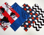 """48 Cotton Flannel 6""""x6"""" Quilt Squares in Pirates, Waves, Fish and Chevron Prints"""