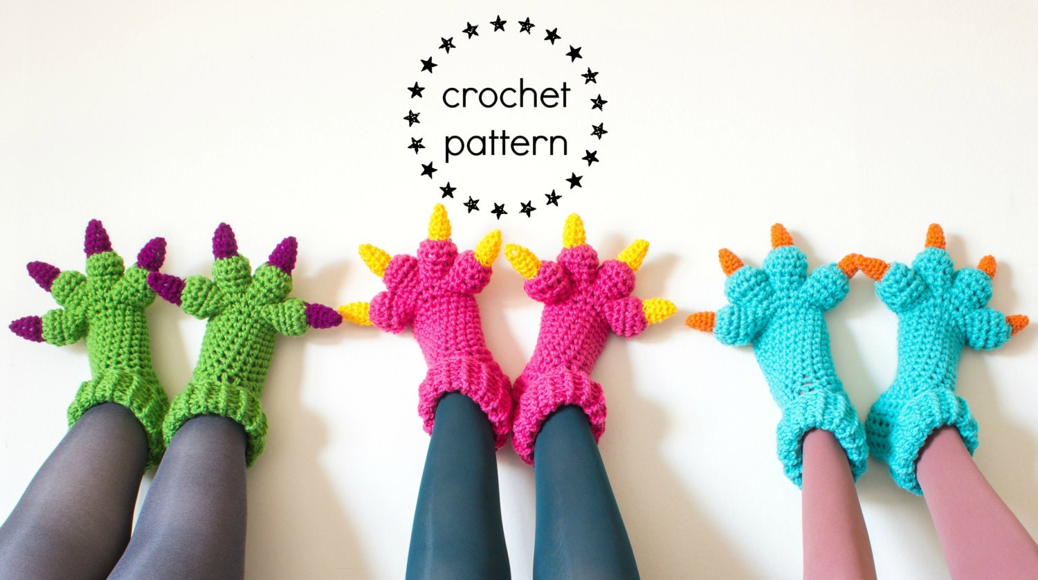 Monster slippers crochet pattern pdf kids womens mens adult zoom bankloansurffo Gallery