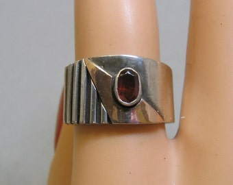 Wide Sterling and 10KT Gold Band Ring, Size 7.25,  Vintage, Avant Garde