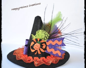 Mini Witch Hat, Baby Witch Hat, Halloween Costume Hat, Infants witch hat, Costume Hat, Toddler Witch Hat-Orange trim Hat