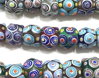 Multicolor 15mm Round Lampwork Glass Beads, Art Deco, Abstract, Boho, Hippie, Tribal Beads