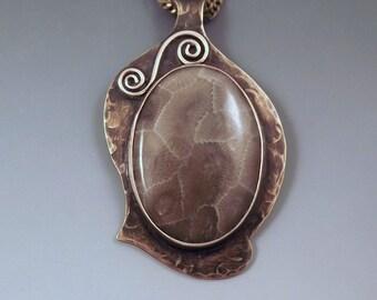 Michigan Petoskey Stone- Smokey Bronze Patina- Michigan Made- State Stone- Fossil- Metal Art Necklace
