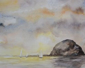 Watercolor Sailboats on the Ocean beach painting, coastal art