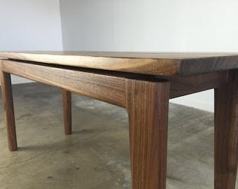 Mid century modern bench in solid walnut
