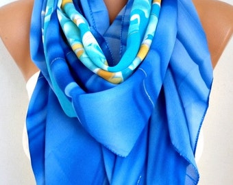 Blue Tones Floral Print Chiffon Scarf,Fall Shawl,Pareo, Big Size,Women Scarves Gift Ideas For Her Women Fashion Accessories,Birthday Gift