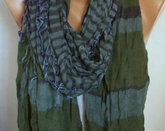 Green Cotton Tartan Scarf, So Soft, Winter Shawl, Plaid Cowl Men Gift Ideas For Her For Him Women Fashion Accessories