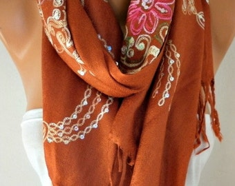 Burnt Orange Embroidered Scarf,Summer Shawl, Cowl, Bridesmaid gift, Gift Ideas For Her, Women Fashion Accessories,Christmas Gift