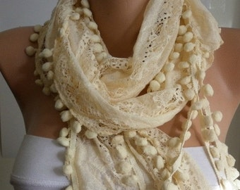 Yellow Pompom Scarf  Spring Easter Summer Scarf Shawl Scarf Cowl Gift For Her Women Fashion Accessories