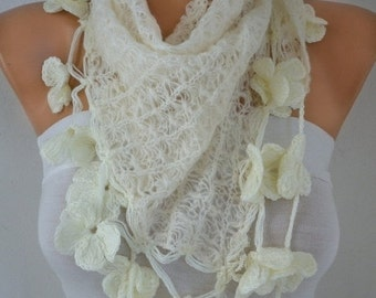 Creamy White Knitted Scarf,Wedding Shawl, Bridal Accessories,Bridesmaid Gift, Cowl, Gift Ideas for her, Women Fashion Accessories