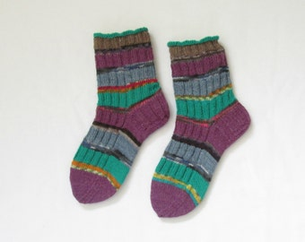 Striped knitted socks purple and green (Size US 5.5-7.5, UK 3-5, Europe 36-38) small size