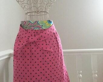 Vintage Style Half Apron Pinny bright Amy Butler Print and Polka Reversible Retro