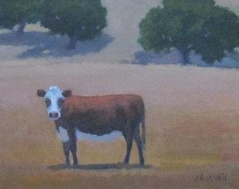 "Original Oil Painting Santa Ynez Cow Landscape Santa Barbara California Modern Impressionist Jennifer Boswell 8x10"""