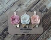 Set of 3 Medium Wool Felt Rose Bud Hair Clips - Vintage Pink, Off-White, and Peach