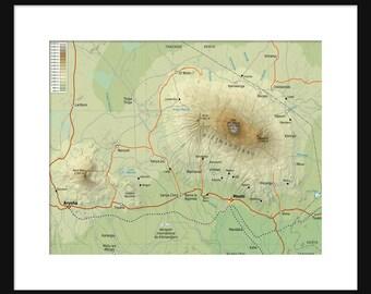 Mount Kilimanjaro Map - Print Poster - Kilimanjaro