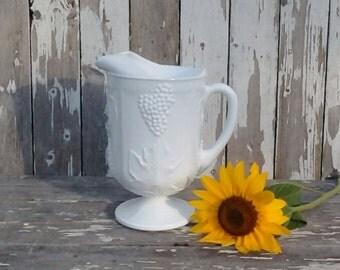 Milk Glass, Large Milk glass Pitcher, Colony Harvest Grape design, Indiana Glass, Wedding Bridal and Vintage Home decor