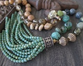 Knotted tassel necklace - Bits of Earth - blue tan green turquoise earthy bohemian long necklace fall boho necklace by slashKnots