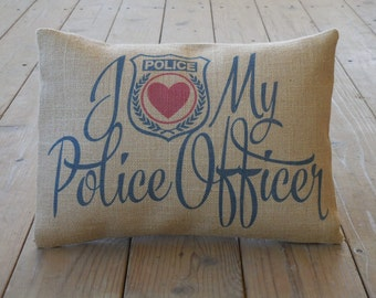 Police Burlap Pillow, Thank you gift, Police Officer Appreciation,  INSERT INCLUDED