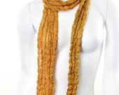 Crinkle- Crushed- Pure Silk- Hand painted- mustard- golden yellow-gold- ochre- scarf- summer- beach- resort-earth