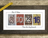 Wedding Date Sign, Wedding Gift for Couples, Established Date Sign, Unframed Wedding Date Print, Wedding Date Gift