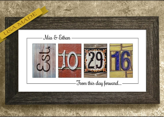 Wedding Date Picture Gift: Wedding Date Sign Wedding Gift For Couples By