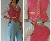 Reserved Cornelia FINAL REDUCTION Amazing 1950s Pink and Gold, Diamante and Peal Embellished Quilted Textron Waist Coat