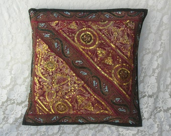 Indian Sequined Pillow Cover, marsala/burgundy and gold, vintage unused