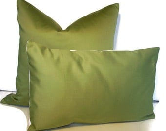 Green Pillow Cover Leaf Green Pillow Solid Green Pillow Green Cotton Sateen 16 18 20