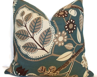 Teal Pillow Cover P Kaufmann Chloe Teal Botanical Pillow Cover BOTH SIDES Teal Floral Leaves