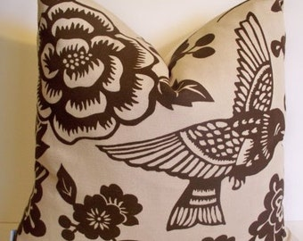 Thomas Paul Aviary Earth Brown Pillow Cover Brown Bird Pillow Cover